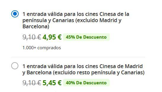 CINESA, entrada a 4,95 / 5,45 €.