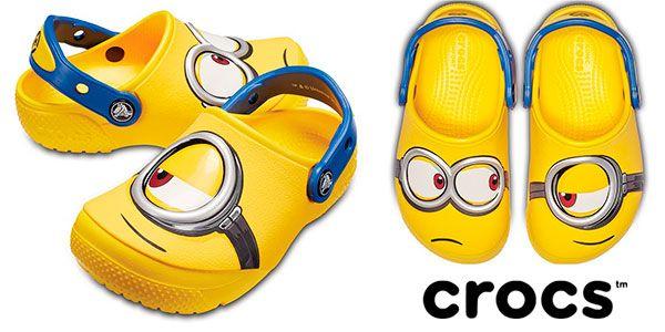 Zapatillas Crocs minions niños. Tallas 22 a 35