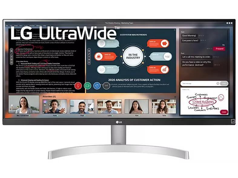 "Monitor - LG UltraWide 29WN600-W, 29"" WQHD, 5 ms, 75 Hz, DisplayPort, HDMI, FreeSync, Plata"