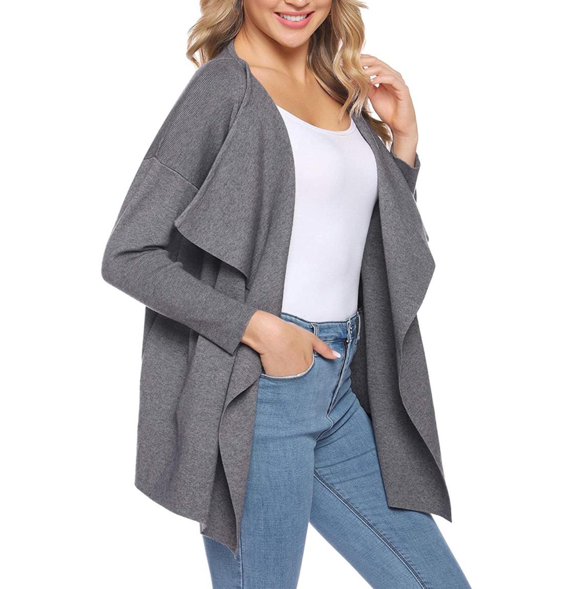 Jersey abierto gris mujer talla XL (también disponible en otros colores y tallas).