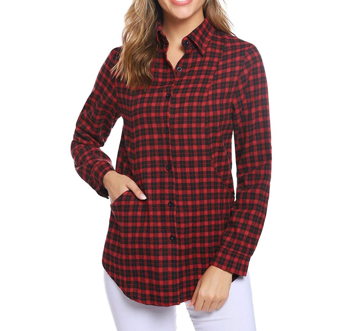 Camisa a cuadros de franela mujer tallas XL y XXL.