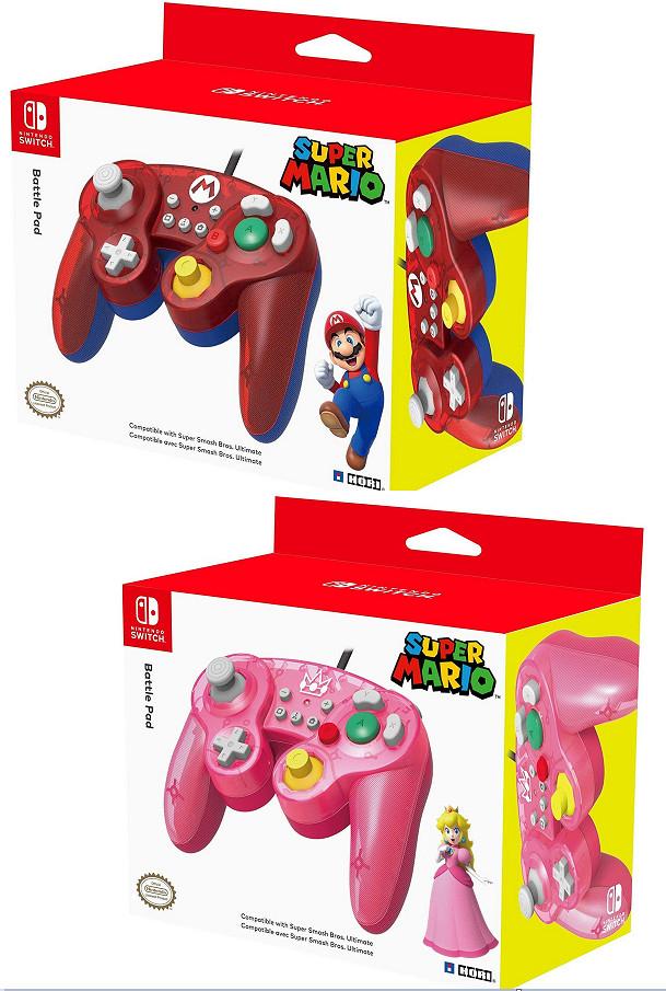 Mandos HORI - Battle Pad Mario y Peach (réplicas GameCube) para Nintendo Switch por sólo 13,59€