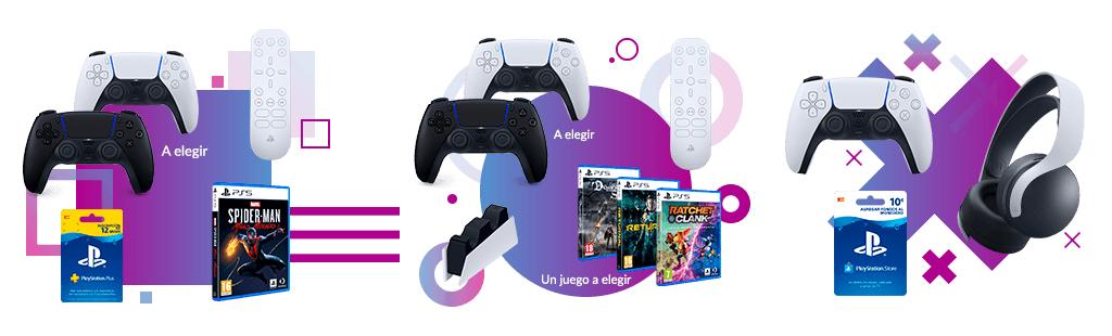 Cambio dePlayStation 4 + DualShock 4por Packs de PS5