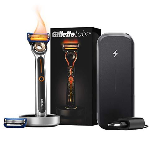 Gillette Labs Heated Razor Máquina de Afeitar Hombre + Base de Carga + Enchufe Inteligente - Kit de Viaje, Regalos Originales para Hombre