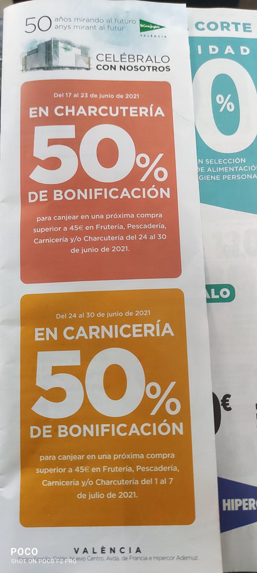 50% Bonificación en Charcutería en Hipercor y ECI (Valencia) por 50 aniversario