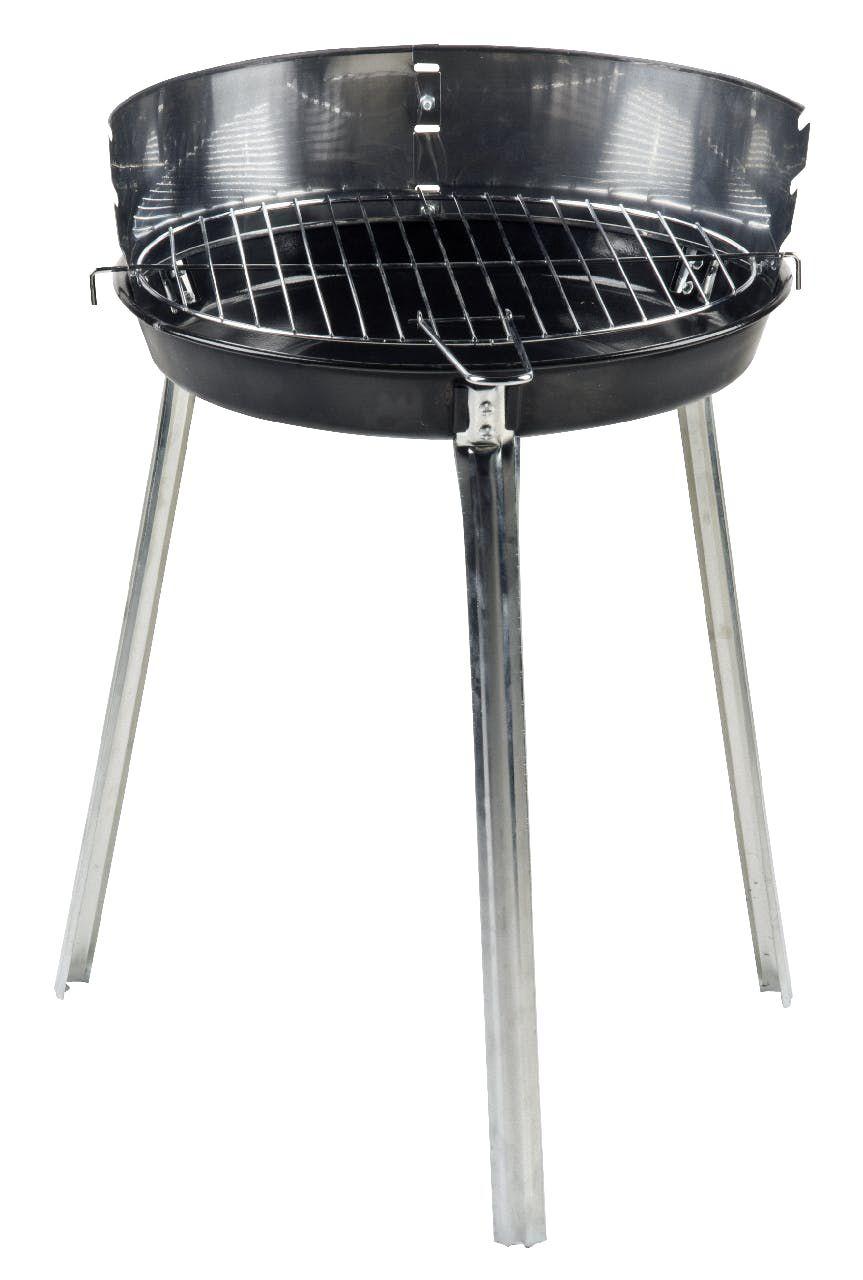 Barbacoa redonda de carbón, 38 cm, acero