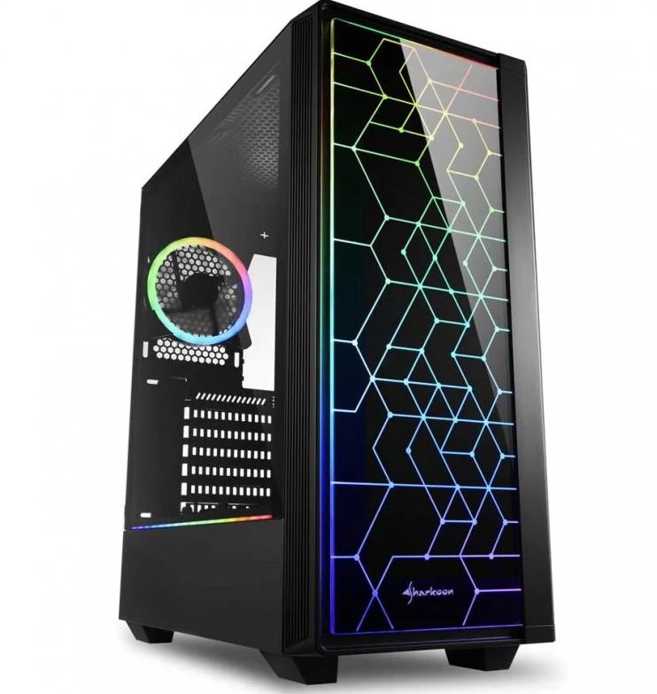 Sharkoon RGB LIT 100 Cristal Templado USB 3.1 Negra