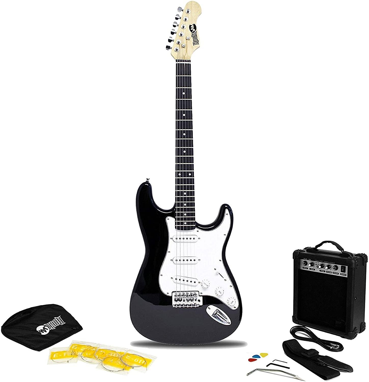guitarra eléctrica RockJam con amplificador de guitarra de 20 vatios, lecciones, correa, estuche, púas, trémolo, cuerdas de repuesto