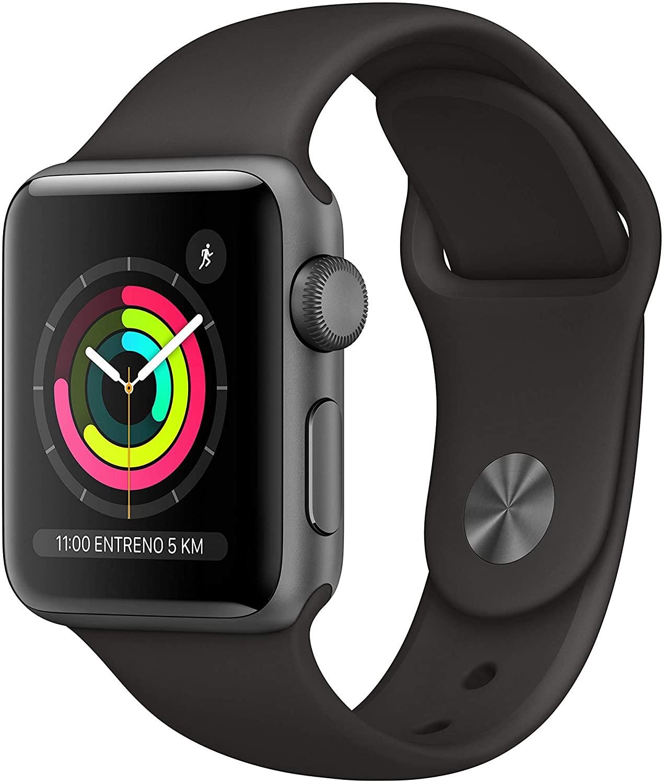 Apple Watch Series 3 (GPS, 38mm) Aluminio en Gris Espacial - Correa Deportiva Negro