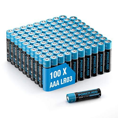 100 Unidades Poweradd Pilas Alcalinas AAA Baterías LR03 Larga Duración