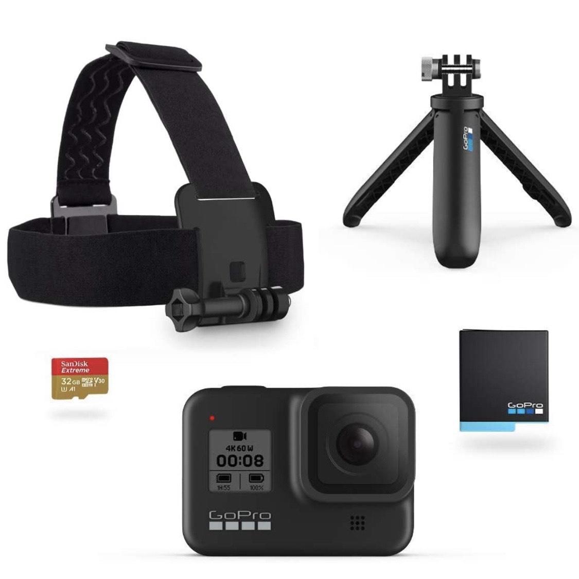 GoPro Kit HERO8 Black   Correa, Shorty, Batería y SD
