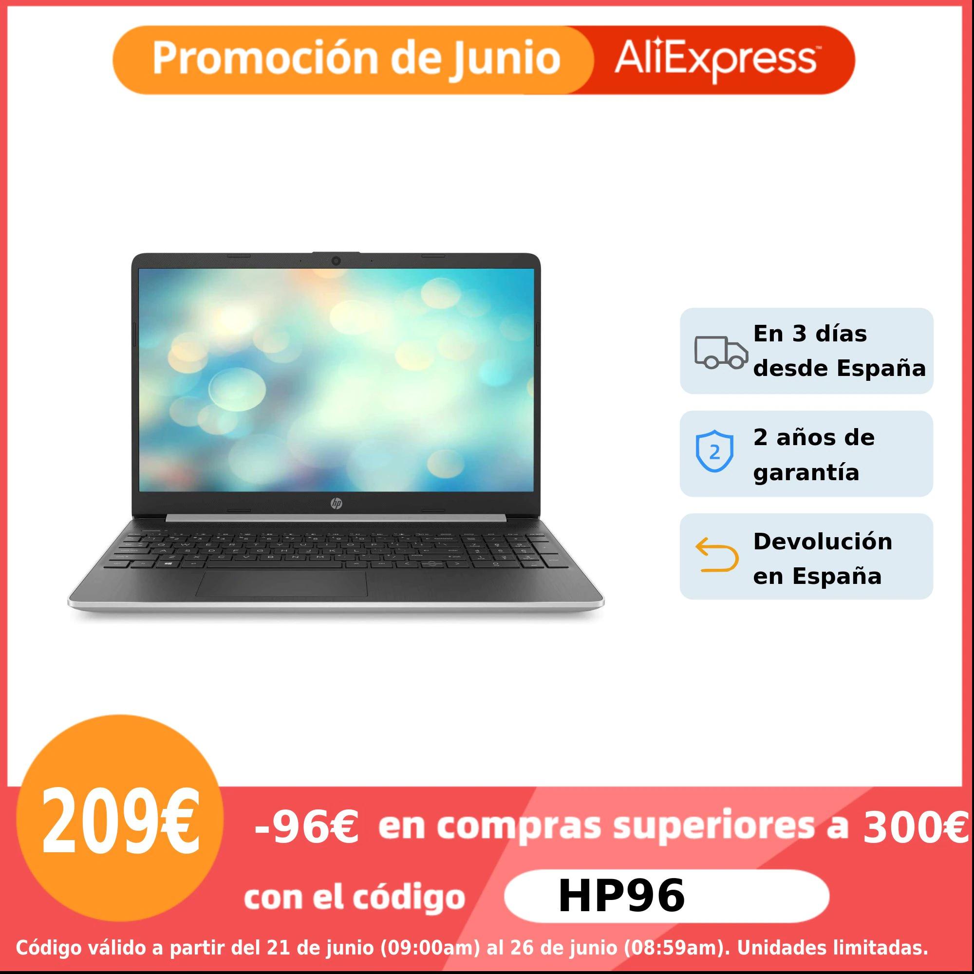 "Ordenador portátil HP 15s-fq0000ns, 15.6"" HD, Intel Celeron N4020, 8GB RAM, 256GB SSD, UHD Graphics, FreeDOS, Teclado con 'ñ'"