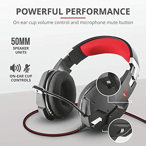 Trust Gaming GXT 322 Carus Auriculares Gamer con Micrófono Flexible y Diadema Ajustable, Cable de 1 m