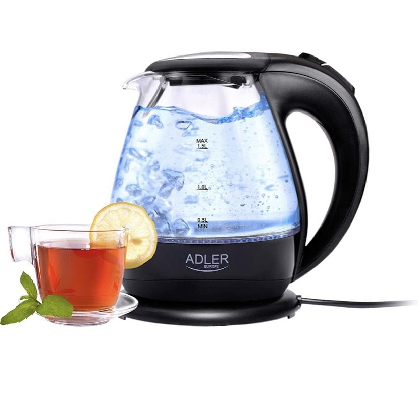Hervidor de Agua, 1,5 litros, Color Negro, 2000 W, 1.5 litros , cristal y acero inoxidable
