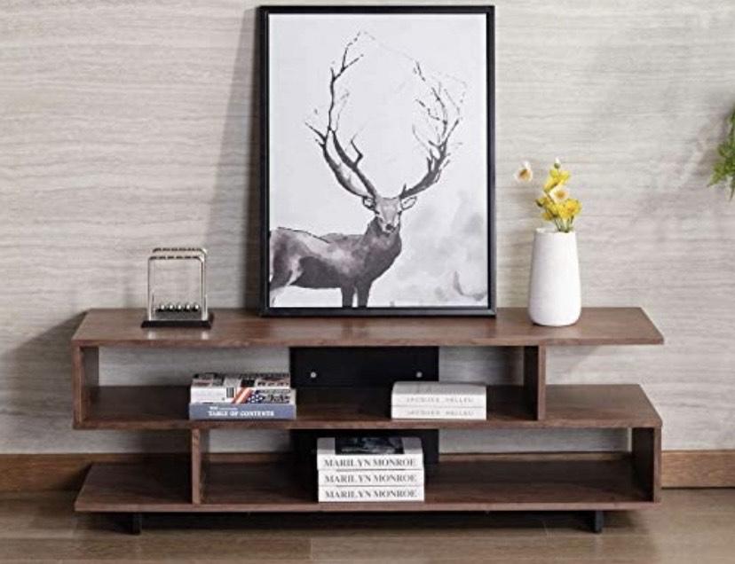 Mueble para TV con balda, 150 x 450 x 51 cm, efecto de nogal