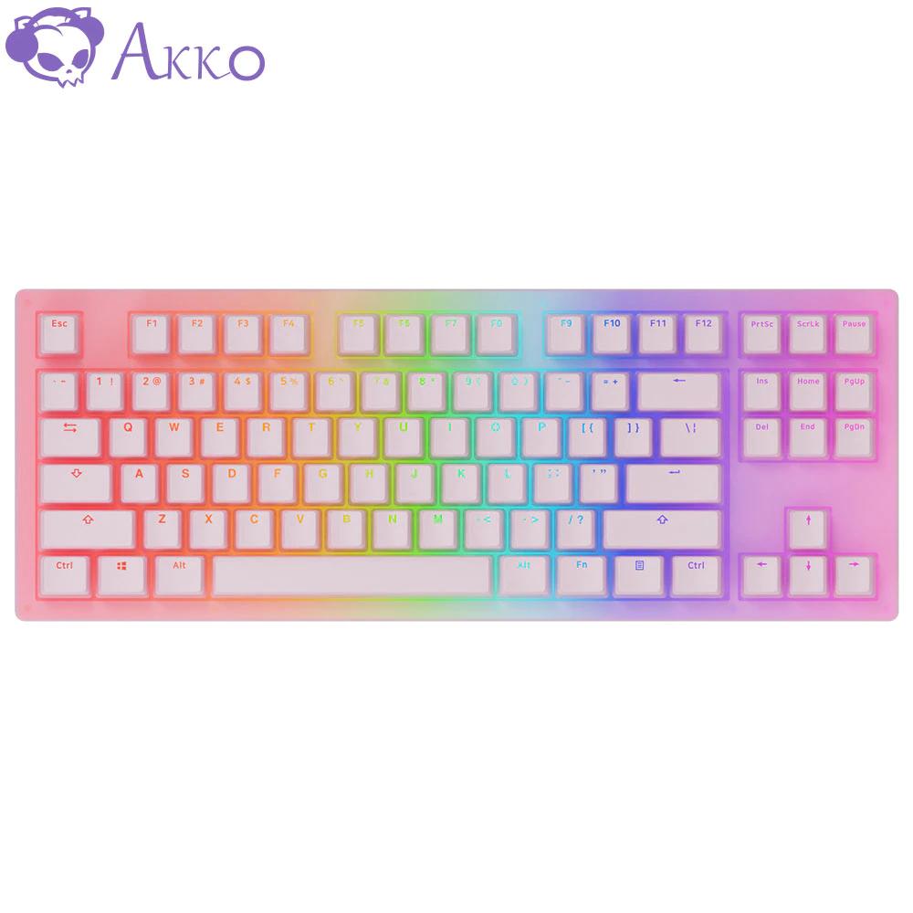 AKKO Teclado mecánico 3087 Cherry Jelly, 87 teclas, USB tipo C, 85% teclas PBT, interruptor rojo cereza para teclado AKKO