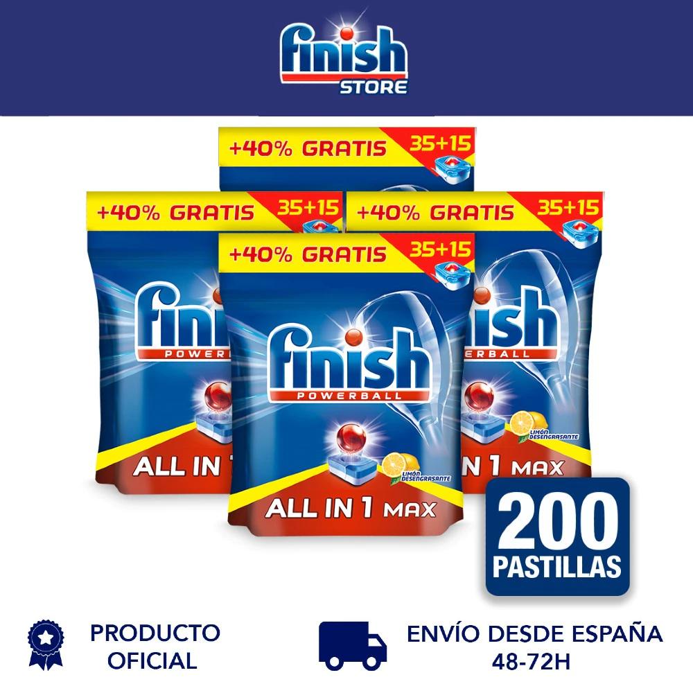 200 pastillas de Finish All in 1 Max Limon por solo 17,82€ (0,09€/pastilla) (+ en descripción)