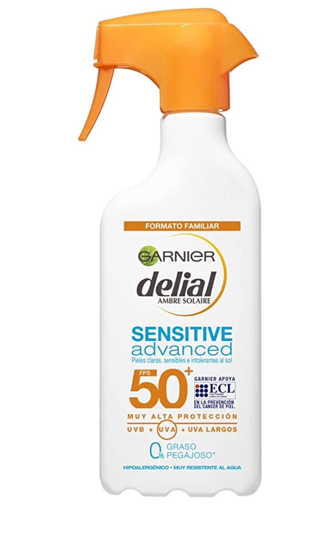 Garnier Protector Solar Spray Adultos Delial Sensitive Advanced para pieles claras, sensibles e intolerantes al sol, IP50+ - 300 ml