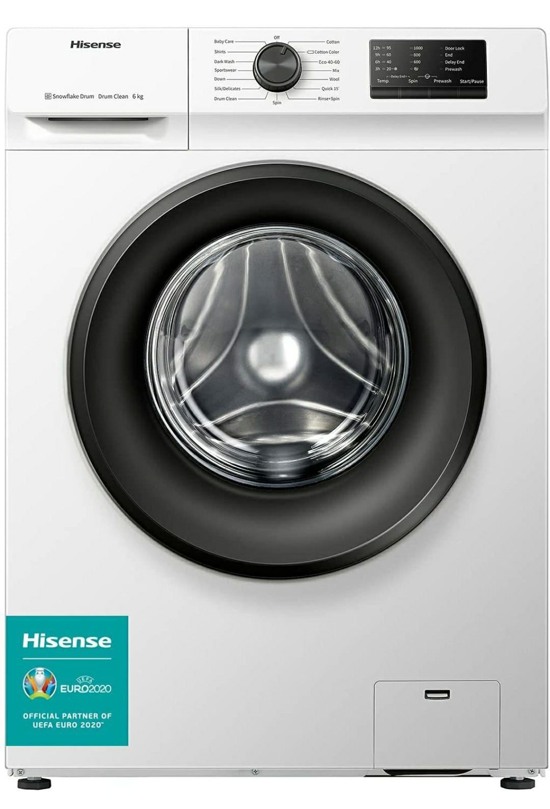 Lavadora Hisense WFVC6010E 6 Kg, 1000 rpm, 15 Programas, Control de balanceo inteligente, Display LED