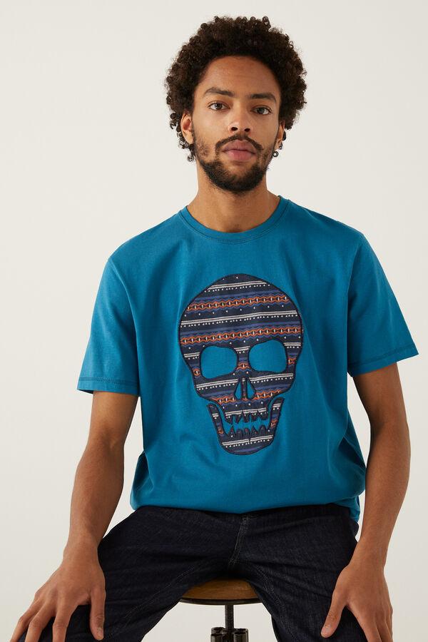 Camiseta Hombre Dibujo Calavera 100% Algodón