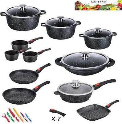 Kamberg 0008163 - Batería de cocina 24 piezas, hierro fundido, revestimiento de piedra (Reaco muy bueno)