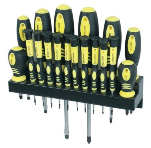 Mannesmann - Juego destornilladores punta magnetica con soporte, 18 piezas