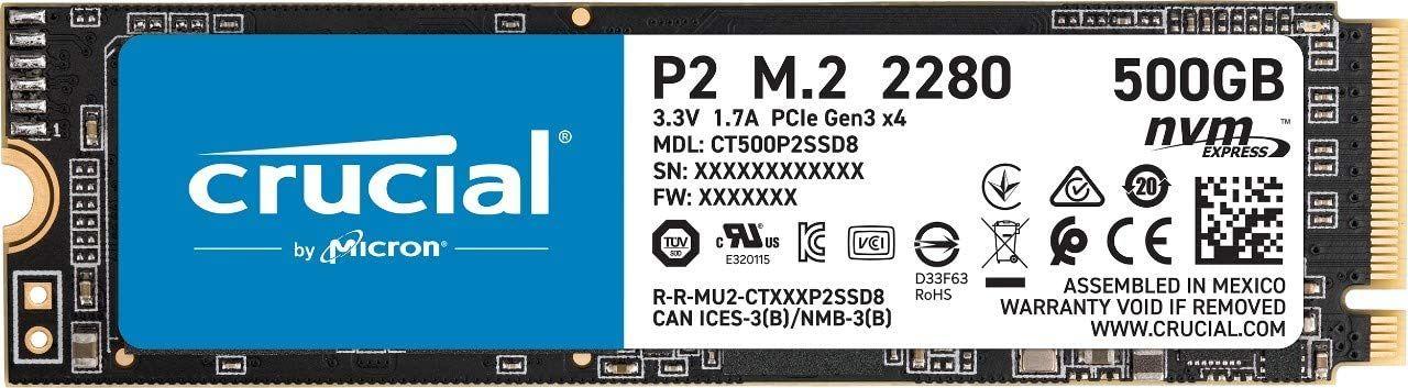 SSD NVMe Crucial P2 500GB por solo 42.50€