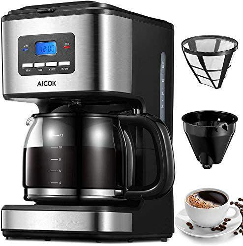 Cafetera Goteo Programable 1.5 Litros, 12 Tazas, 900W, Negro Aicok