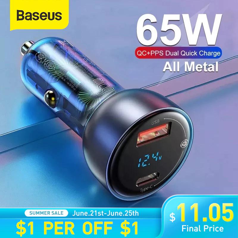 Baseus Cargador de coche de carga rápida de 65W PPS, USB tipo C (Envío desde China)