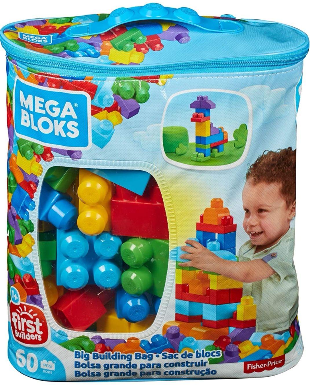 Mega Bloks Bolsa clásica con 60 bloques de construcción [Azúl y Rosa]