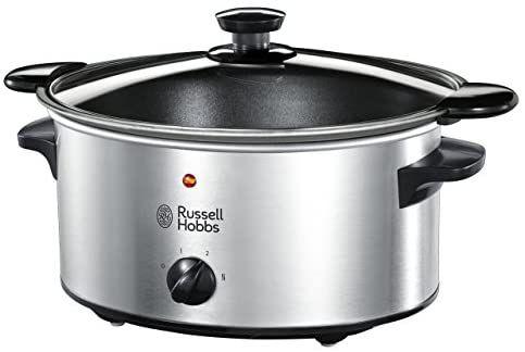 Russell Hobbs Cook@Home - Olla de Cocción Lenta (Cocina Lenta, Olla Baja Temperatura, Inox y Negro, 3,5l)
