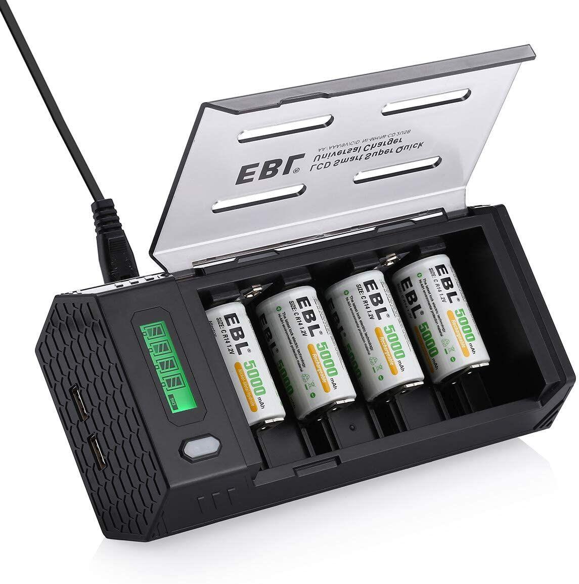 EBL LCD Cargador de Pilas con 4 Pilas Recargables 5000mAh y dos salidas USB para carga