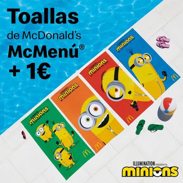 Toallas McDonald's Minions por 1€ más al comprar tu menú