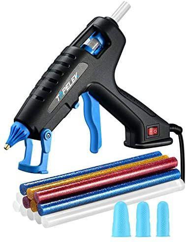 TOPELEK Pistola de Silicona Caliente 100W con 12 PCS barras de pegamento y 3 Protectores de dedos