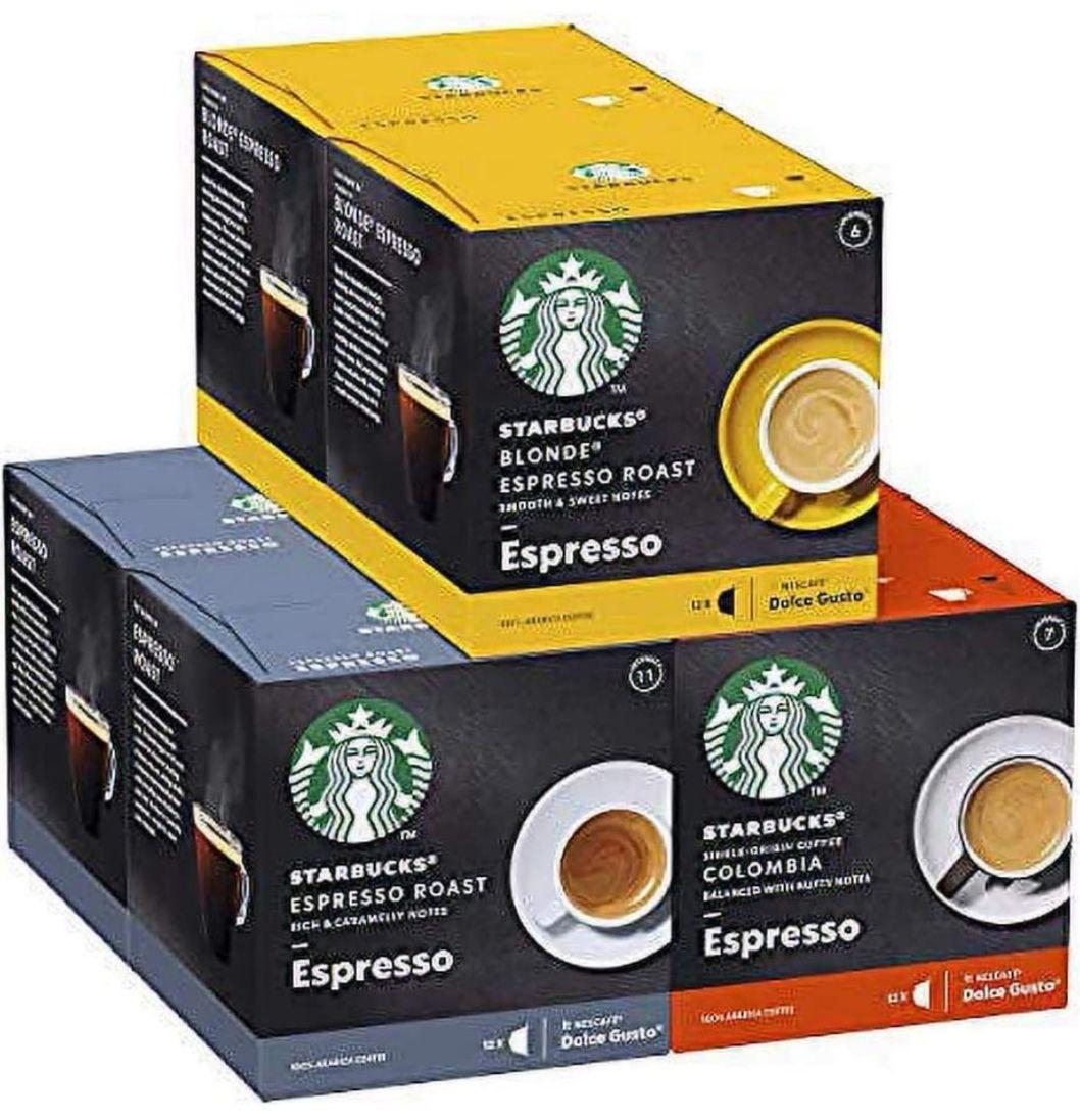 [6 cajas x 12 Und] STARBUCKS Black Cup Variety Pack De Nescafe Dolce Gusto Cápsulas De Café(+ Descripción)