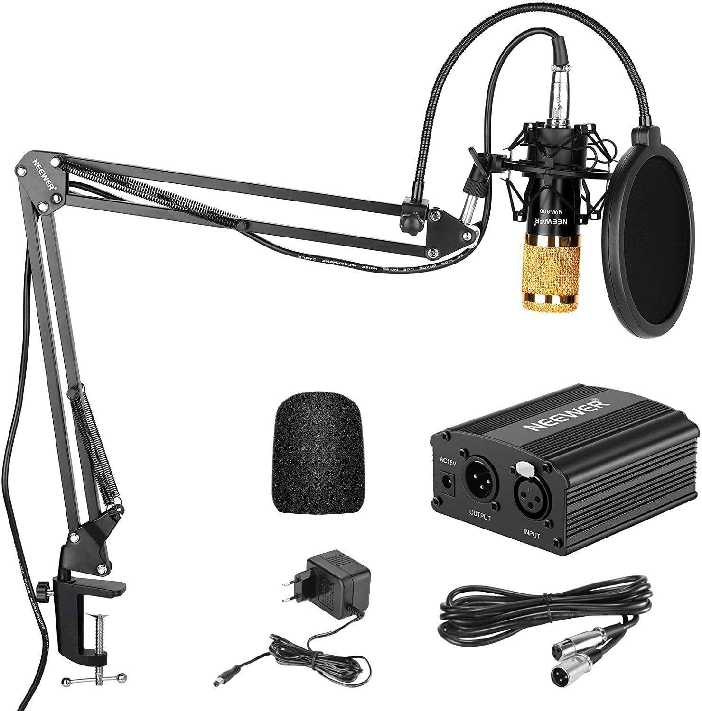 Neewer NW-800 Kit de Micrófono de Condensador de Oro - Fuente de Alimentación Negra 48V Phantom
