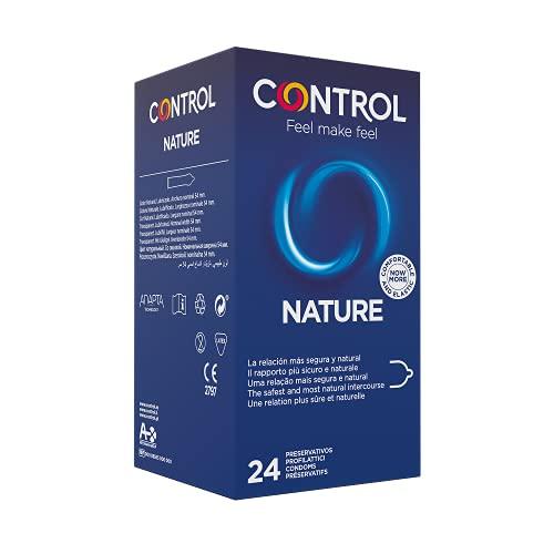 Control Nature - Caja de Condones gama natural, lubricados, ajuste perfecto, sexo seguro, 24 unidades