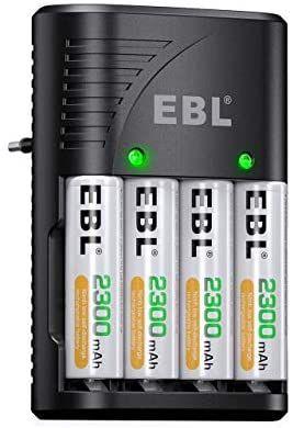EBL Cargador rapido Plug con Pilas Recargables 4 X AA 2300mAh Ni-MH