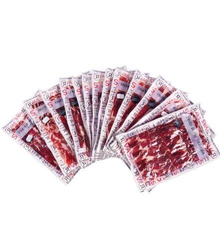 2 paletas de bellota brida roja Guijuelo loncheadas + taquitos y huesos
