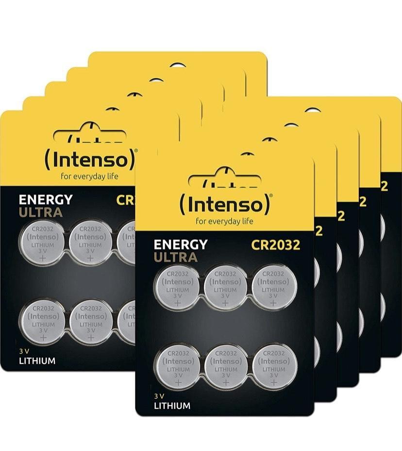 60 Pilas de botón (Litio, CR2032, 10 Paquetes de 6 Unidades)marca intenso