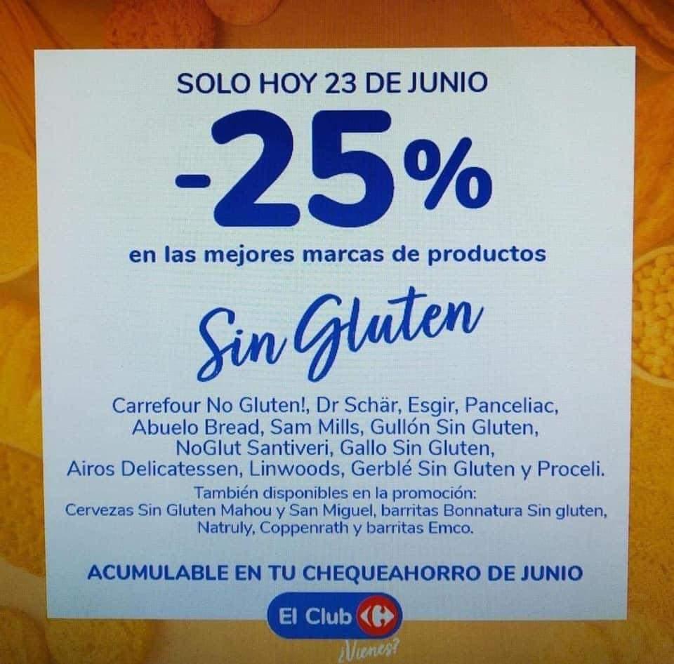 Solo hoy acumula el 25% en tu chequeahorro de junio comprando productos sin gluten