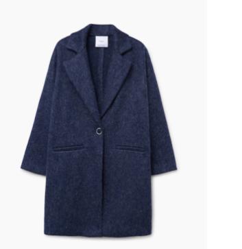 Abrigo mohair y lana de Mango