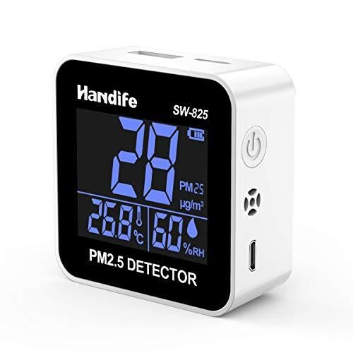Monitor portátil de calidad del Aire. Mide PM2.5, temperatura y humedad. Recargable, pantalla LCD y alarma.