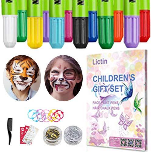 Pintura Facial de 8 Colores, 6 Tintes para Cabello, 2 Purpurinas, 1 Pegatinas de Tatuaje, 2 Plantillas, 3 Tocado de Mariposa