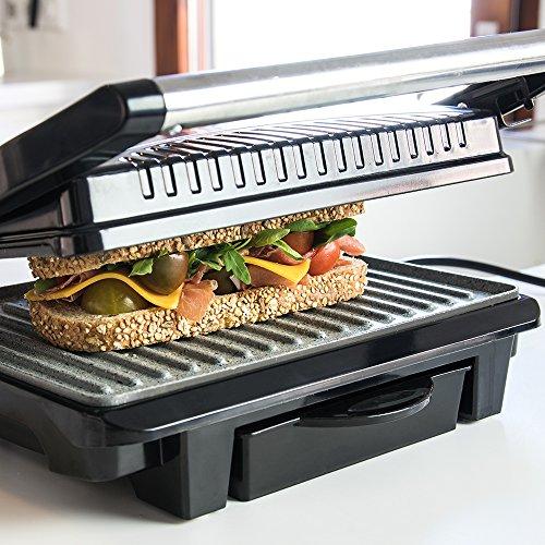 Panini Grill, parrilla eléctrica, plancha y sandwichera con revestimiento de piedra RockStone. 1000W de potencia, superficie de 25,4x17,5 cm y cajetín recogegrasas