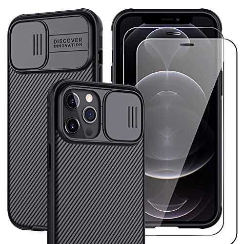 Funda con ventana protectora y 2 cristales templados para iPhone 12 / 12 Pro / 12 Pro Max
