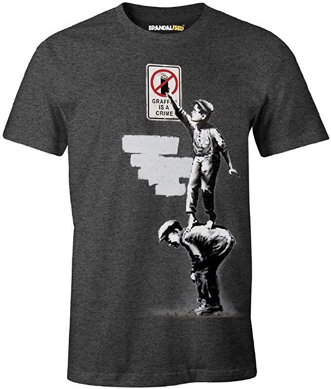 Camiseta de Banksy de Graffiti Is A Crime. Licencia oficial Talla S