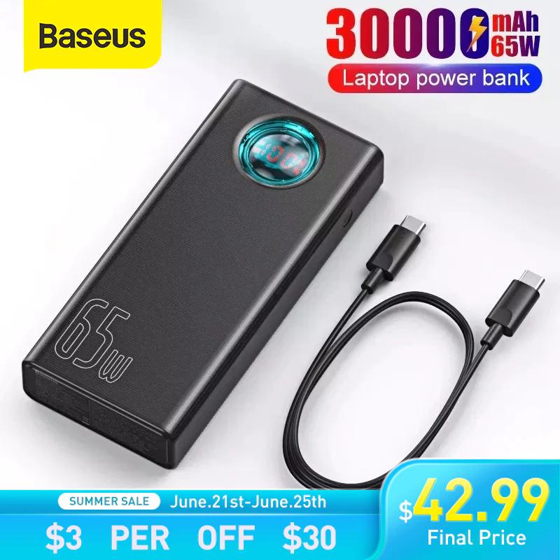 Batería externa Baseus 30.000mAh 65w potencia.