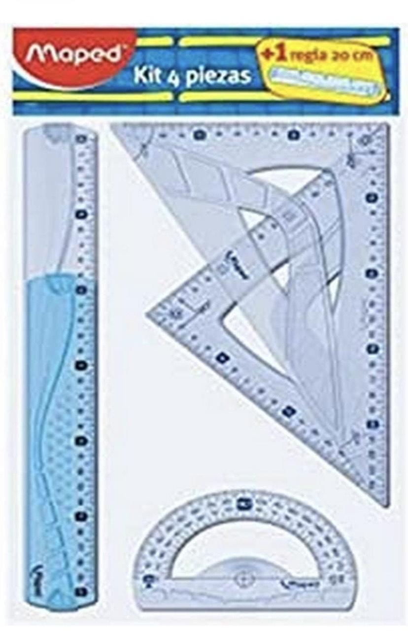 3 uds Maped - Kit trazado 4+1, regla de 30 cm, cartabón, escuadra, transportador y regla 20 cm
