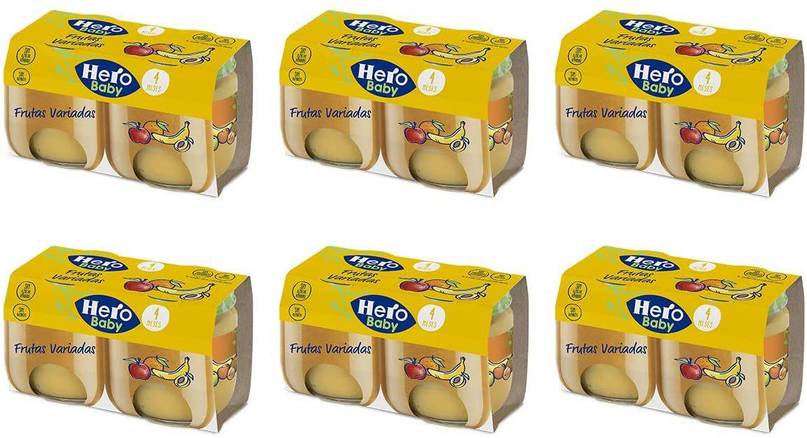 12 tarritos Hero Baby - Frutas Variadas. 6 unidades de 2 x 120 g